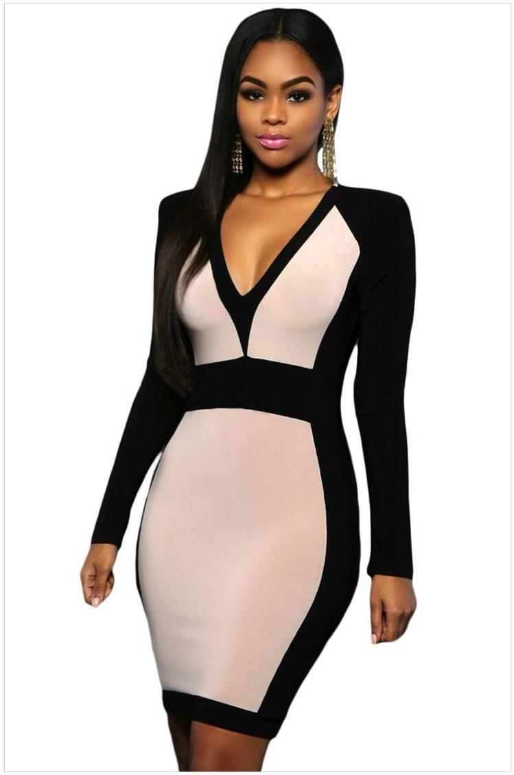 Shoulder Pad Design V Neck Dresses Women Evening Party Dresses ...