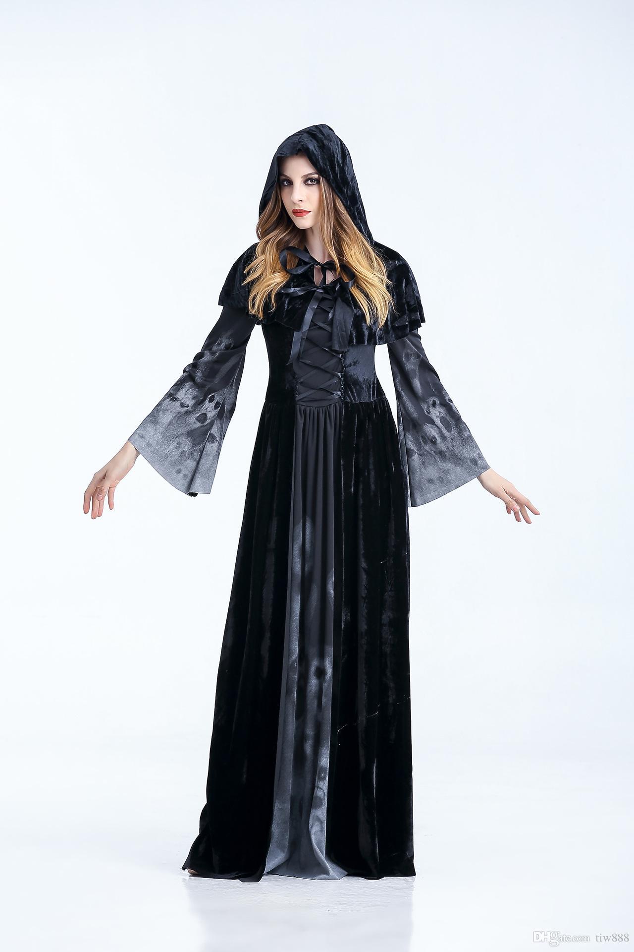 Halloween Costumes Vampire Queen Cosplay Dress Long Sleeve And ...