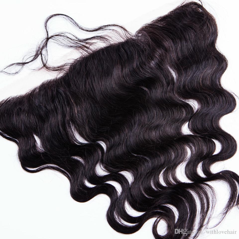 Full Frontal-Spitze Schließung 13x2 mongolischen Körperwelle Doppel Schuss färbbare Farbe Lace Closures Medium braun Haar Grad 8a Schließung