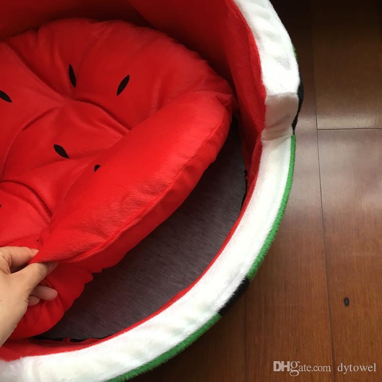 Pastèque ronde mignonne modélisation animal de compagnie chenil maison chien tapis de lit canapé fruits chiot teddy petit animal de compagnie chat chien chien lits de couchage S M L