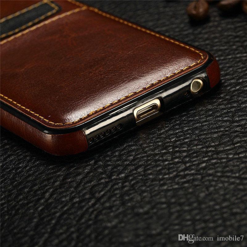 Carteira de couro titular do cartão de volta caso capa para apple iphone 5s 6 6s mais