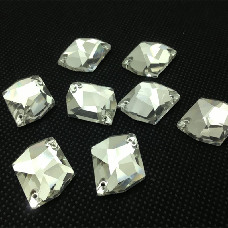 Wholesale 10x12mm 11x14 14x17~21x27mm Flatback Cosmic Sew On Stones Crystal Clear Color 2holes Special Shape Sewing Glass Crystal Beads