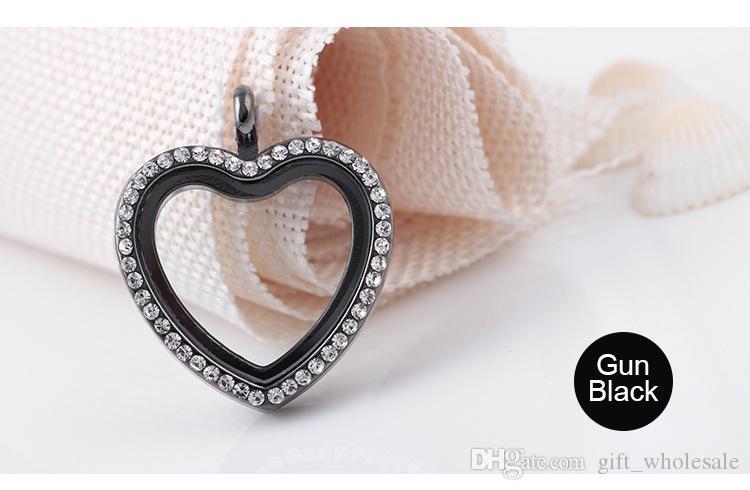30mm i cuore magnetico vetro magnetico galleggiante in lega di zinco in lega di zinco + strass spedizione gratuita catene non incluse