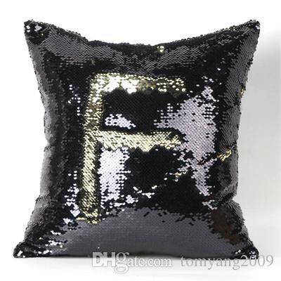 2 Tono de color de las lentejuelas caja de la almohadilla del sofá de perlas lentejuelas de Pillowslip reversible iridiscente Glow Hipnotizado fundas de almohada decorativo del hogar