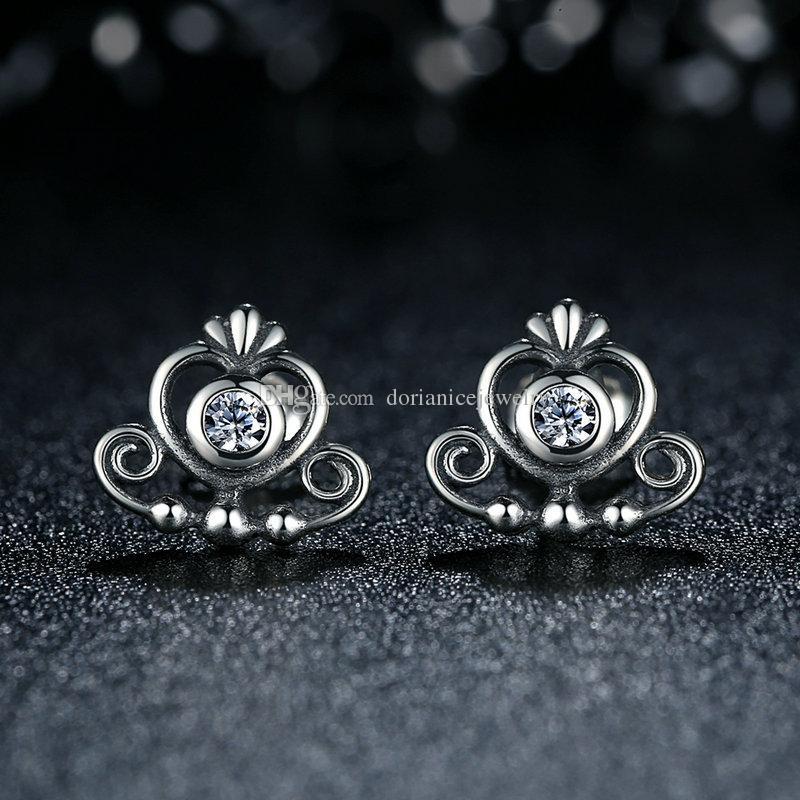 50e011b48 ... Authentic 925 Sterling Silver Earrings My Princess Tiara Clear CZ Heart  Crown Stud Earrings Elegant Women ...