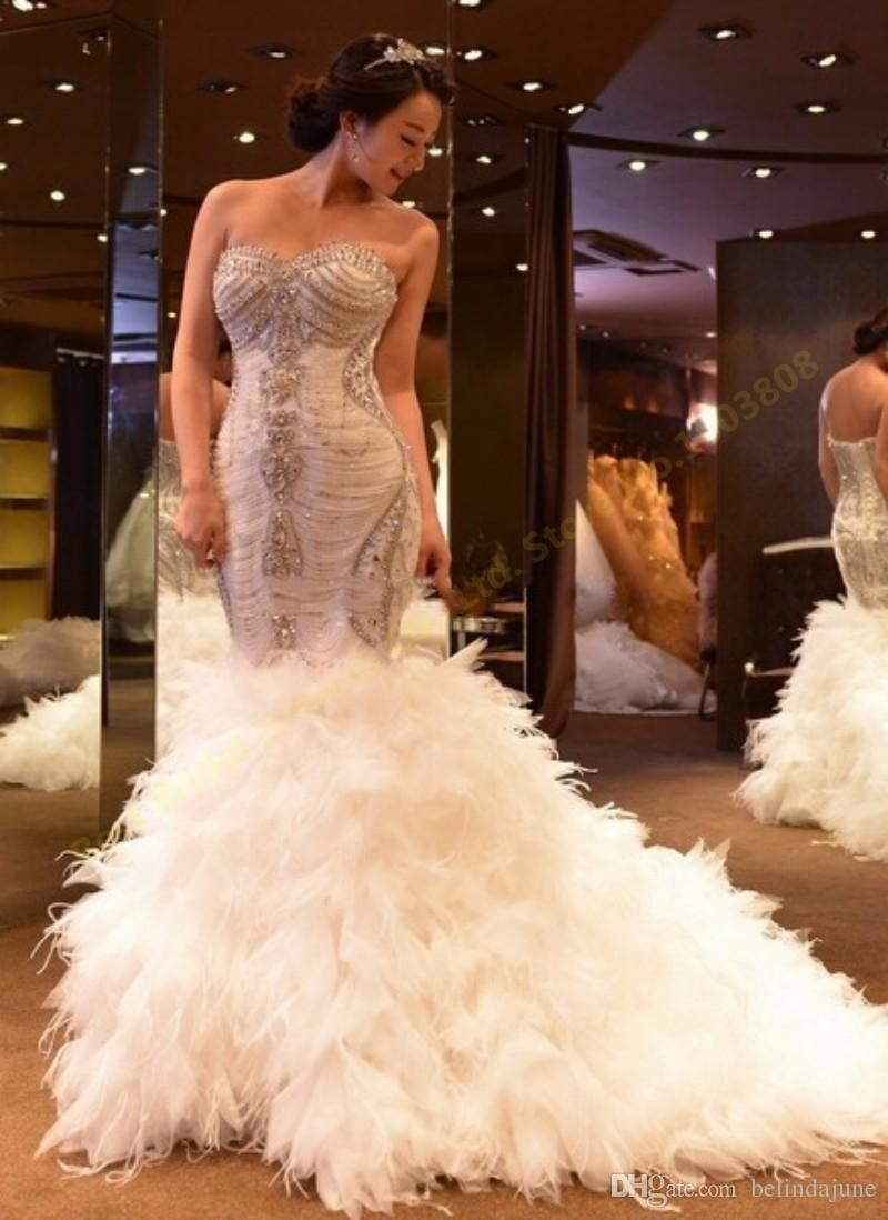 Luxurious Bling Bling Mermaid Wedding Dresses Beaded Crystal Feather