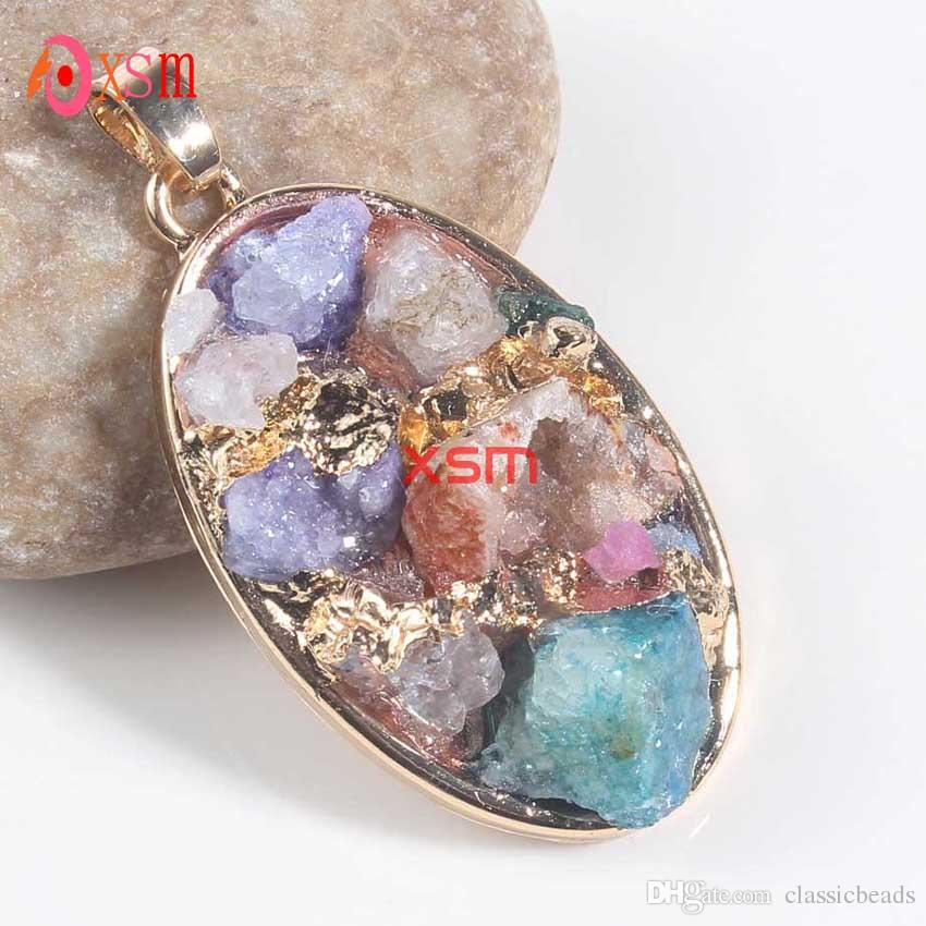 2016 Hot Sale New Product Natural Starfish Heart Oval Crystal Druzy Pendants Necklace Jewelry For Women 10psc