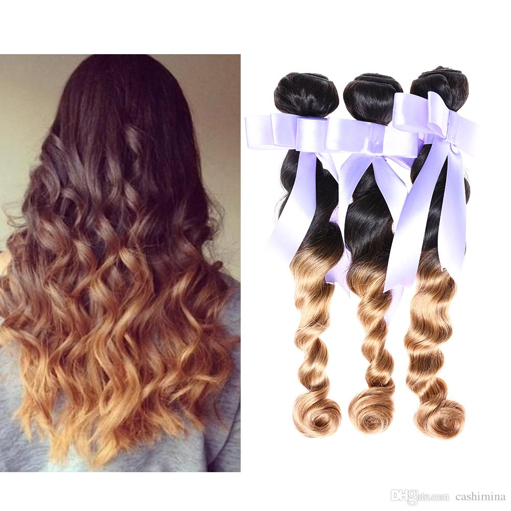 300g 7a Brazilian Real Human Hair Extensions Ombre Loose Wave 2 Tone