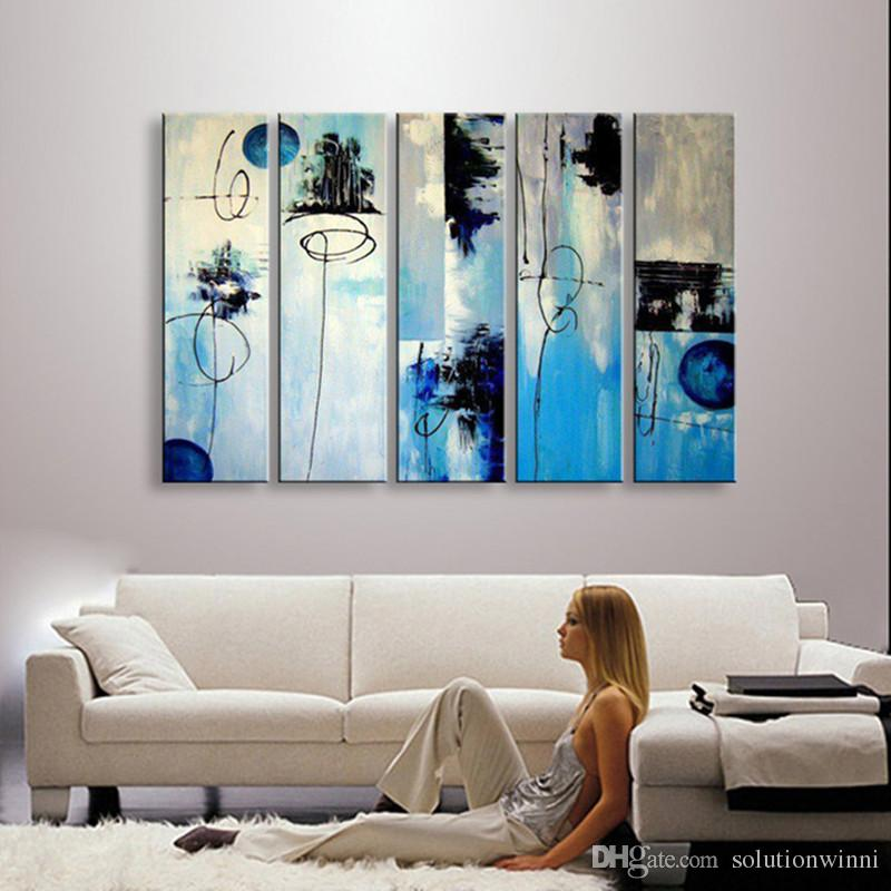 Abstract Graffiti Line Bule Oil Painting Modern Home Decor Wall Canvas Art Hand Painted Acrylic Paintings Blue 5 Panel Pictures