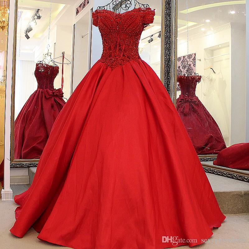 Lindo Beading Red vestido de baile vestidos de casamento 2017 Alças corpete Lace Up noiva Vestidos Custom Made Vestidos de casamento com Big Bow