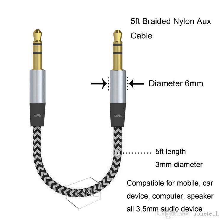 Car Audio AUX Verlängerungskabel Nylon geflochten 3ft 1M verdrahtete Auxiliary Stereo Jack 3,5-mm-Stecker für Apple und Andrio Handy-Lautsprecher