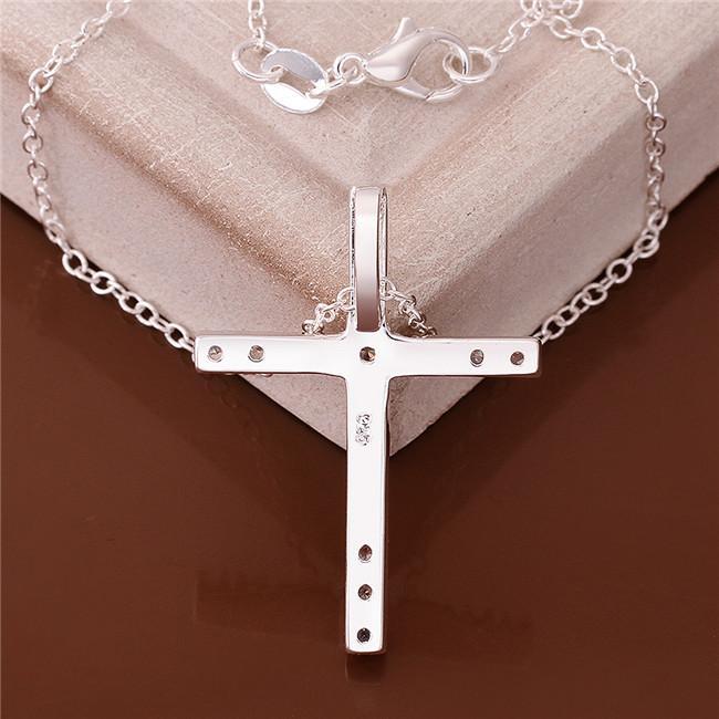 Regalo de navidad cruz colgante collar blanco piedras preciosas esterlinas plata placa collar STSN539, moda 925 collar de plata venta directa de la fábrica