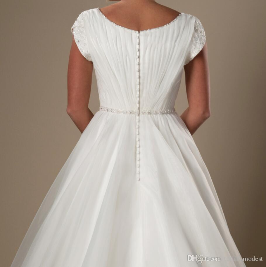 간단한 라인 오간자 겸손한 웨딩 드레스 짧은 소매 캡 소매 사원 신부 가운 V 넥 파란색 주름 웨딩 드레스 새로운