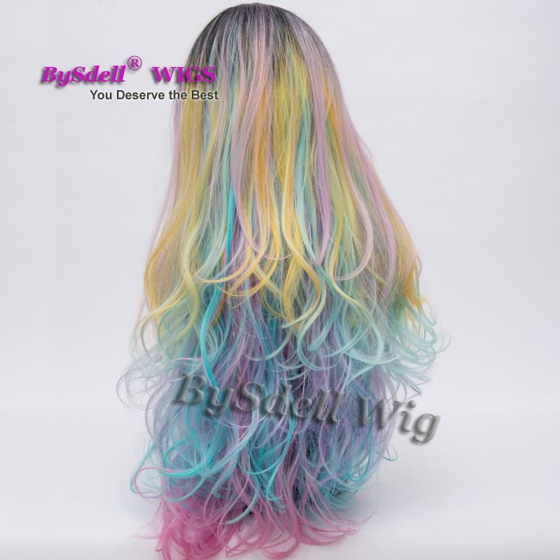 Layered Curls Black Rooted Pastel Dream Wig Synthetic Pastel Rainbow Blend Ultimate Unicorn Fantasy Color Wigs for Black/ White Women