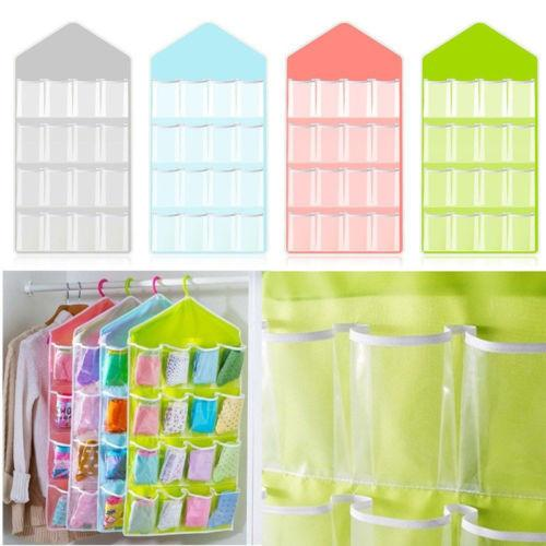 4 Colors 16 Pockets Clear Over Door Hanging Bag Shoe Rack Hanger Storage Tidy Organizer Fashion Home