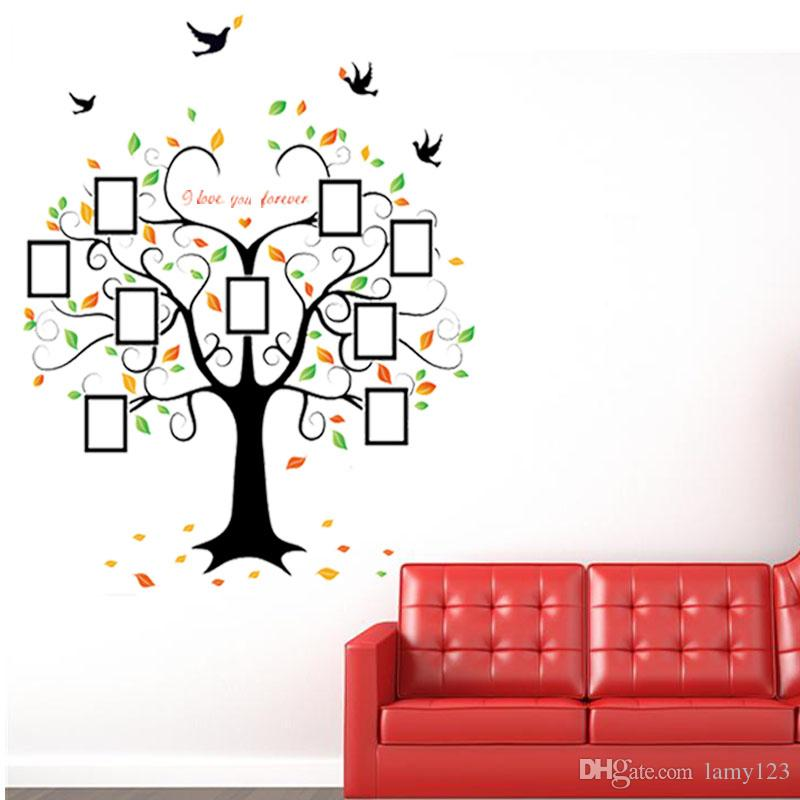 Diy Modern Photo Frame Birds Love Heart Shape Tree Wall Stickers Bedroom  Living Room Backdrop Decoration Pvc Removable Wall Decor 80.3x63 Decals For  Wall ...