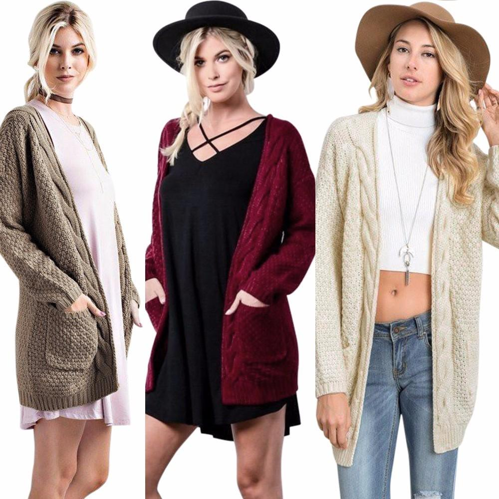 Wholesale Woman Knitted Cardigans Coats Female Long Sleeve Casual ...
