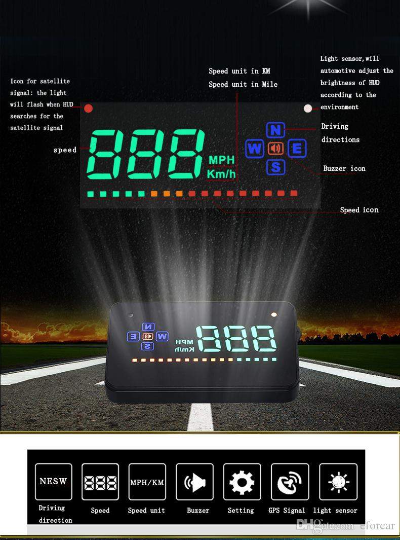 Car Universal GPS HUD Head Up Display 3.5 inch Focus on Speed Overspeed Alarm For All Cars and Trucks