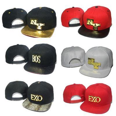Letter NY Snapbacks Metal Gold Logo Hats Men Women Van EXO BOS Snapback Hat Black Red Baseball Caps Hip Hop Leopard Cheap Sale