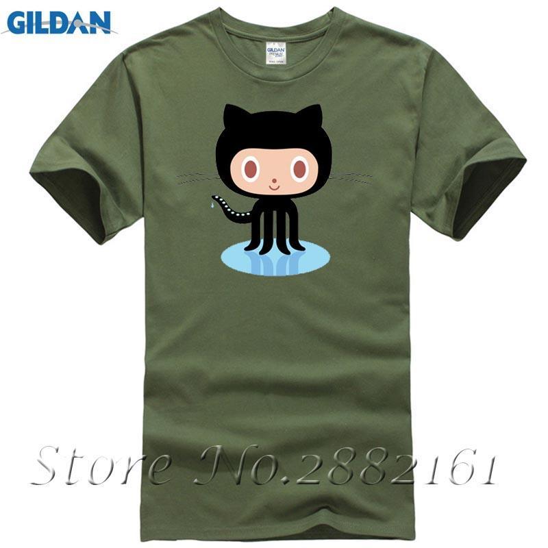 GitHub PEO Octocat T-shirt Top Lycra Cotton Men T Shirt New