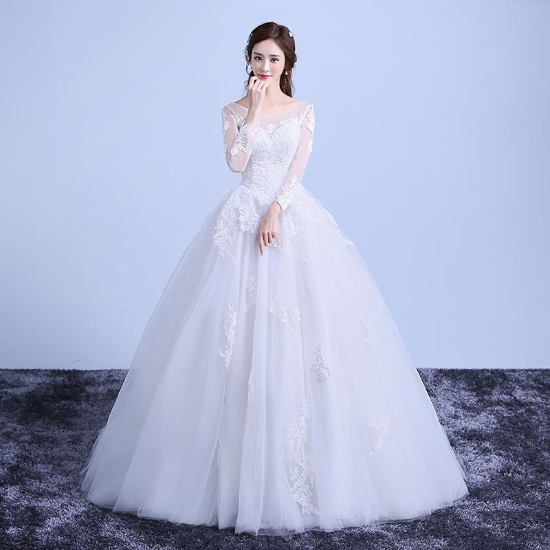 Discount Sweet White Lace Long Sleeved Wedding Dress New Fashion ...