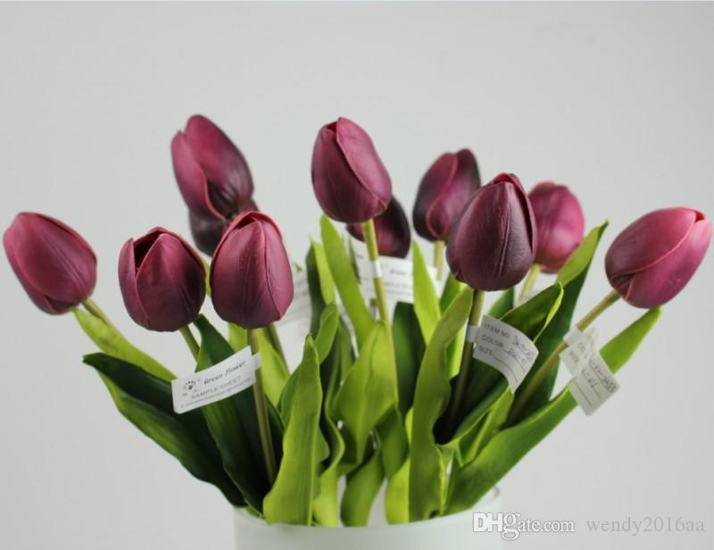 10 teile / los Latex Real Touch Tulip Künstliche Blume Bouquet für Hochzeit Dekoration Produkte