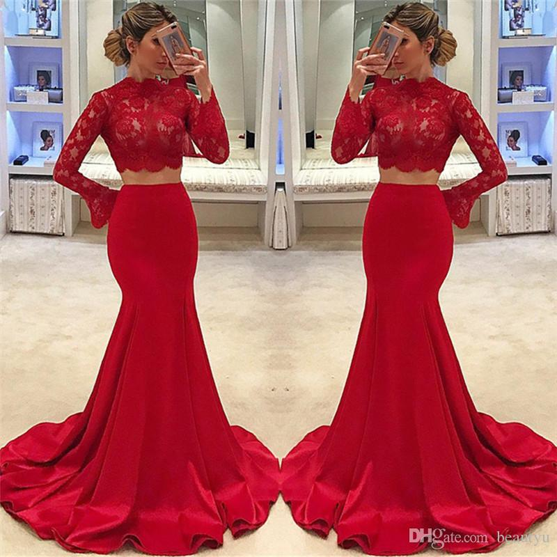 24b429bc7b7 Red Two Piece Prom Dresses 2018 African Cheap Long Sleeve High Neck Mermaid  Lace Cheap Formal Evening Gowns Arabic Dubai Crop Top Vestidos Wholesale  Prom ...