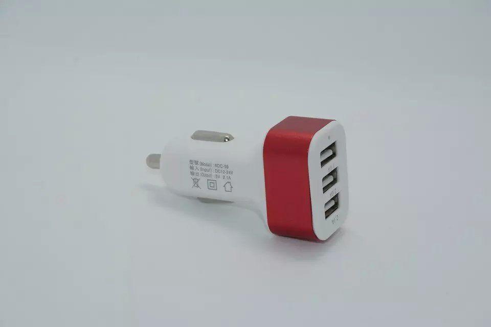 3 usb carregador de carro liga de metal 5 v 1a adaptador de carregamento universal para smart phone 100 pçs / lote