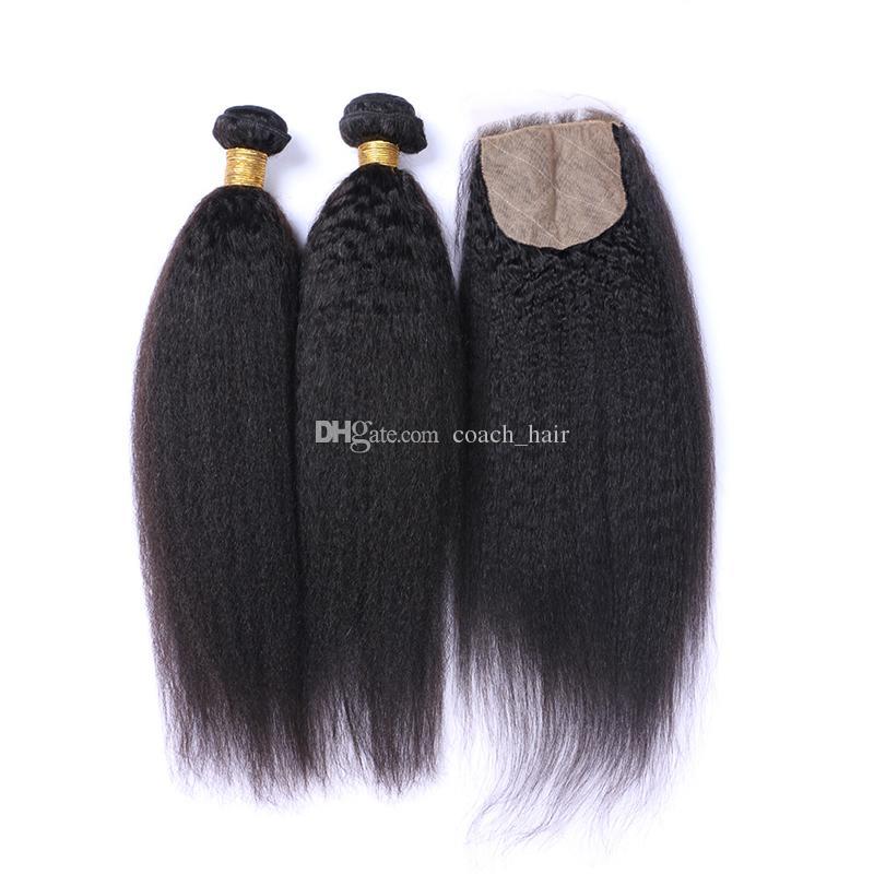 Brazilian Kinky Straight Hair 3 Bundles With Silk Base Closure 4*4 Silk Base Closure With Bundles Brazilian Kinky Straight Hair