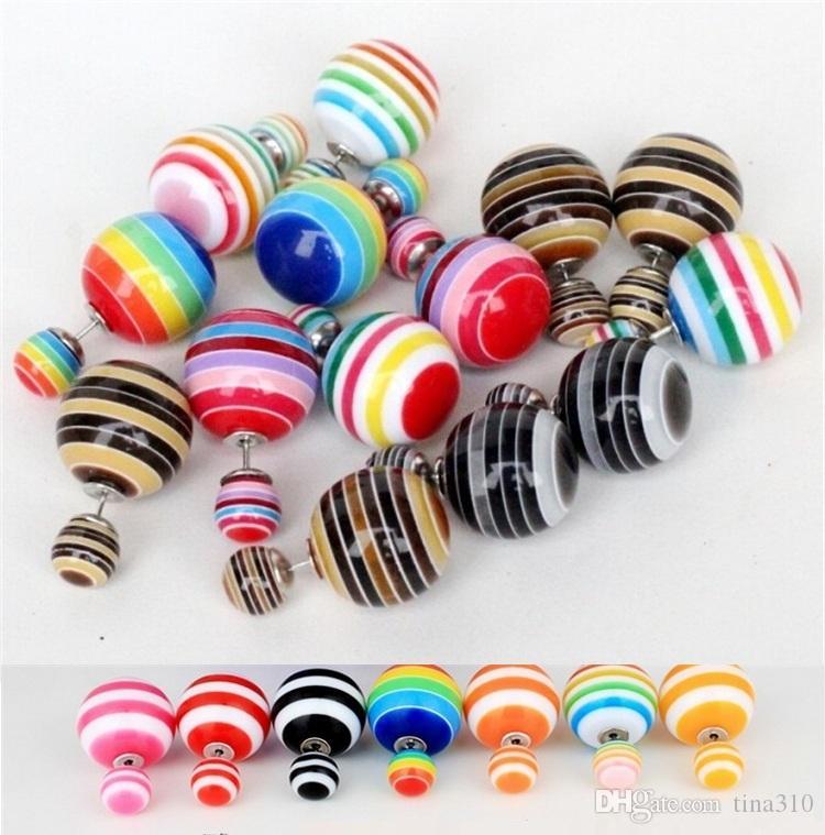 Nouvelle édition de han boucles d'oreilles perles couleur bonbon en vrac yakeli zèbre à rayures double perle boucles d'oreilles goujons de mode 2982