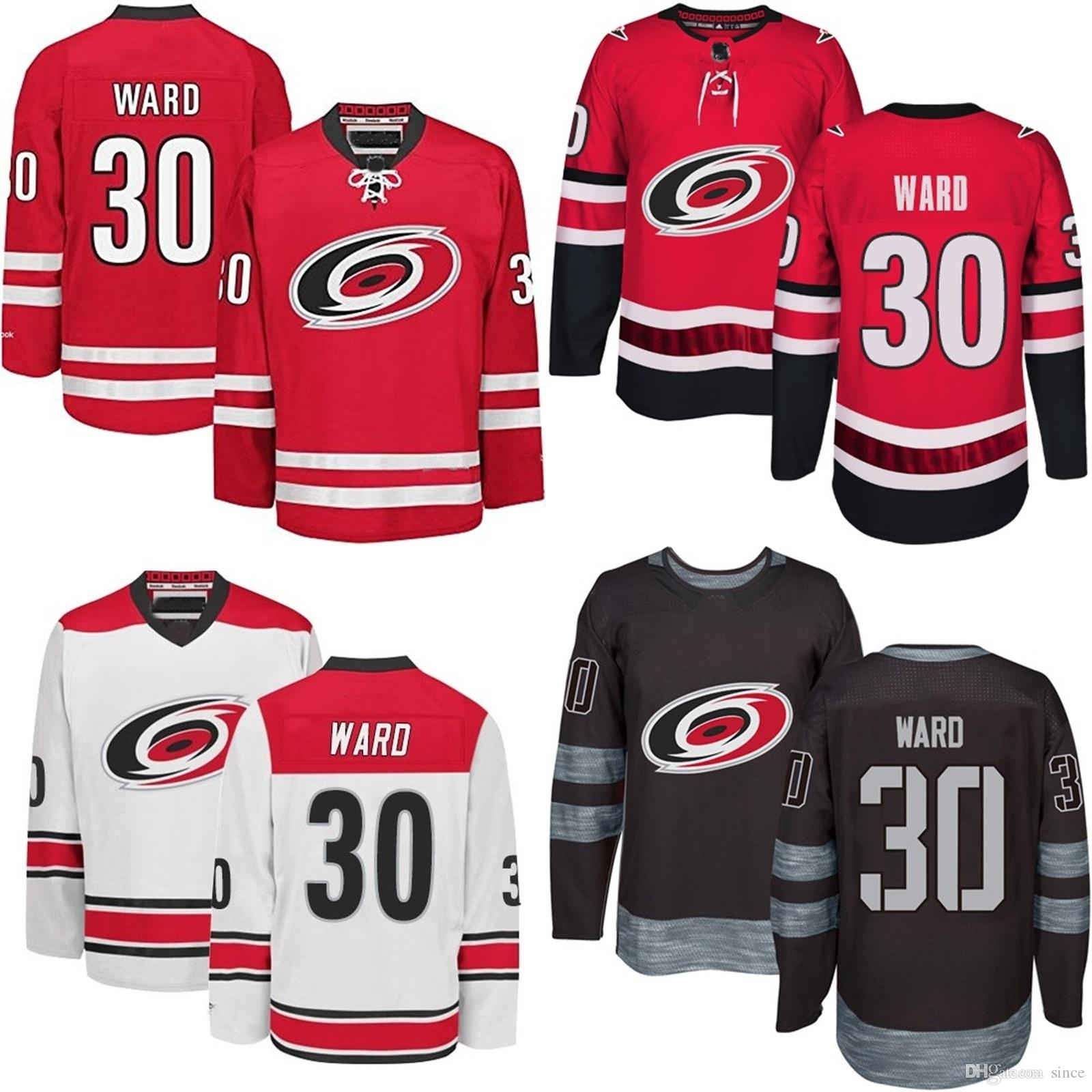 huge selection of ce90b 84853 Cheap 2016 New Mens Carolina Hurricanes 30 Cam Ward White Black Red Ice  Hockey Jersey 100% Embroidery logo Authentic Jerseys Size S-3XL