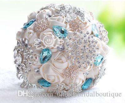 Bouquet di nozze artificiali di lusso Bling Bling cristalli di cristalli raso rose satinato grande bouquet da sposa colorato rhinestone con fiori di alta qualità