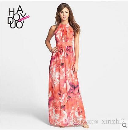 f41087f18c6f Summer New Halter Neck Elegant Maxi Dress Lace Up Drape Elastic Waist Rose  Floral Printed Bohemian Floor Length Dress Grey Summer Dresses Black  Clothing For ...