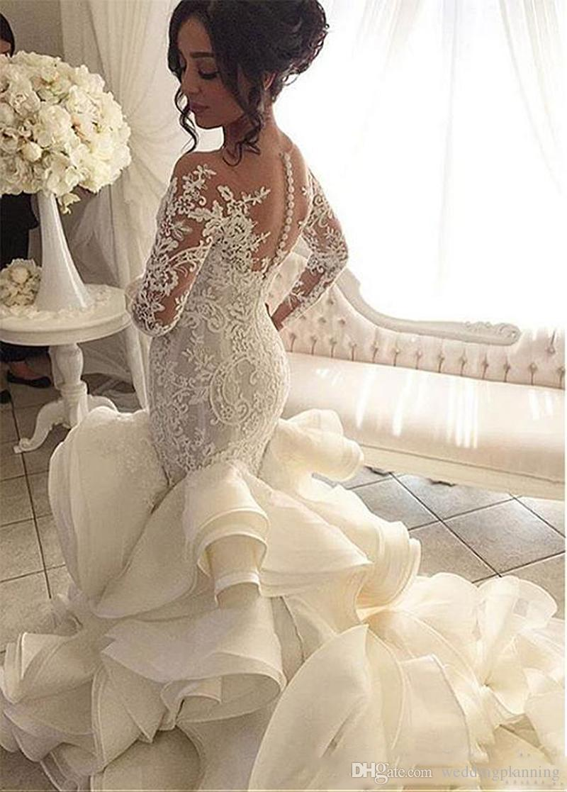 Robe de noiva Robe de mariée manches longues avec pure dentelle Vintage appliques de sirène dentelle Tulle Robes de mariée