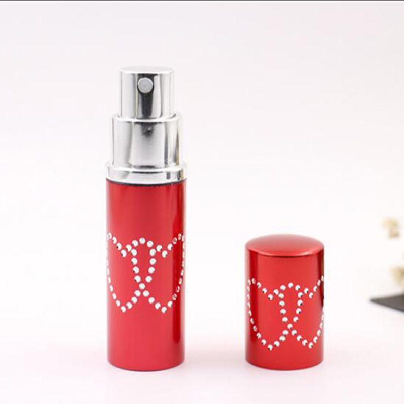 10cc 10mlの詰め替え可能なポータブルミニダブルラブハート香水ボトルトラベラーアルミニウムスプレーサンプルの空の容器噴霧器