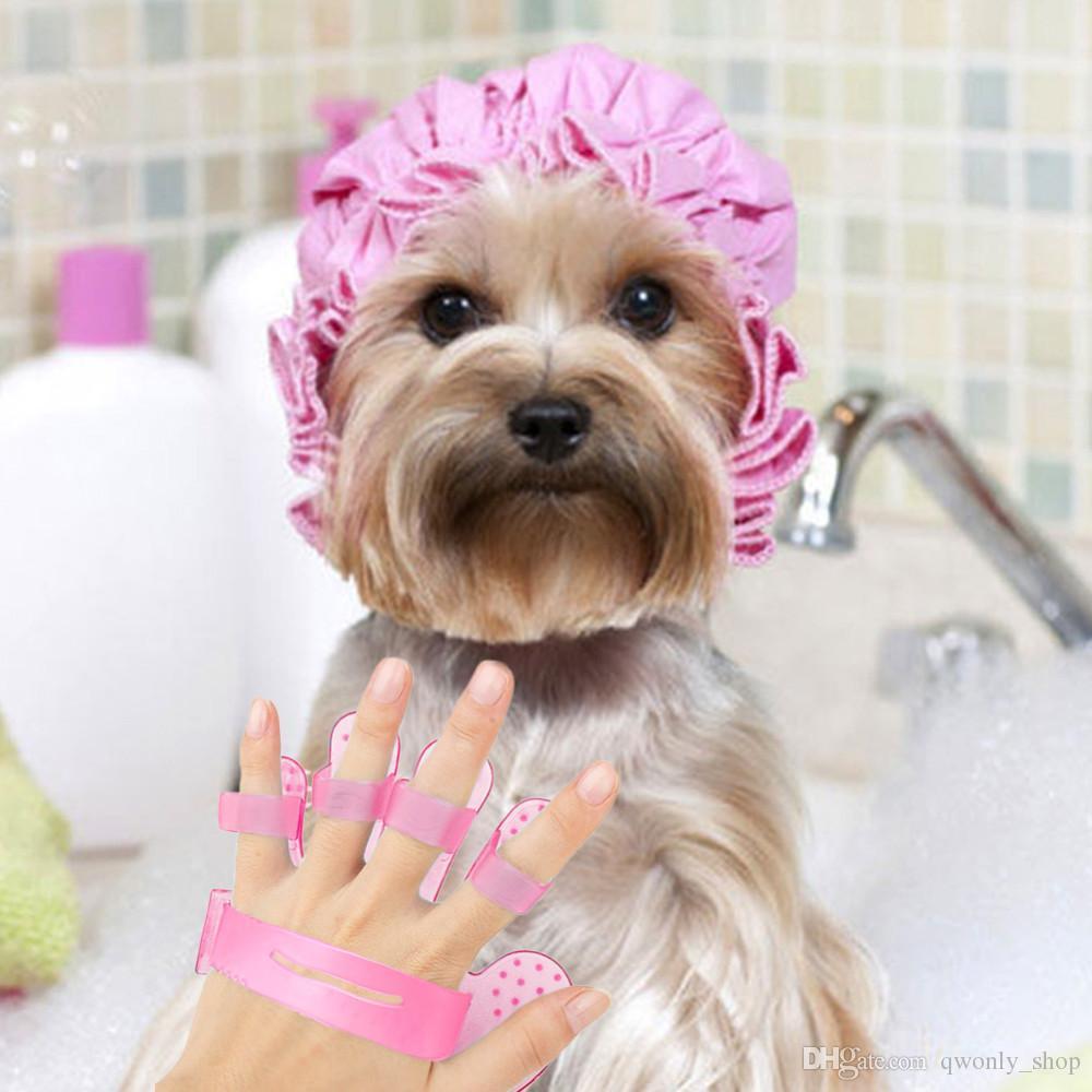 Pulisca la spazzola di plastica del bagno della spazzola di doccia del pettine del pet del cucciolo del cane Pulisca il pulitore del guanto del dito della mano blu / rosa
