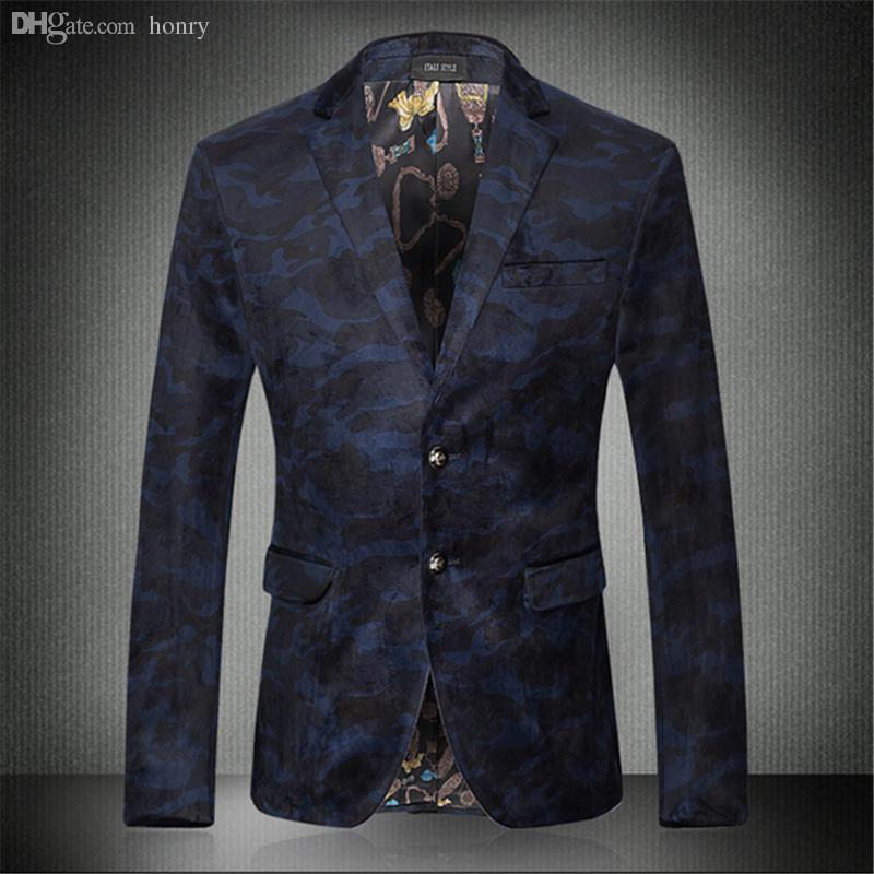 2019 wholesale new 2016 fashion mens floral blazer high quality blue  2019 wholesale new 2016 fashion mens floral blazer high quality blue camouflage casual mens blazer jacket costume homme men\u0027s clothing from honry,