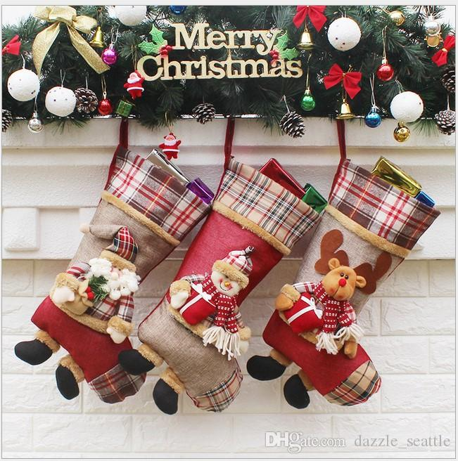 top cotton plaid christmas stockings santa christmas stocking christmas decoration wedding candy socks bags xmas boots stocking for kids gif christmas - Plaid Christmas Stockings