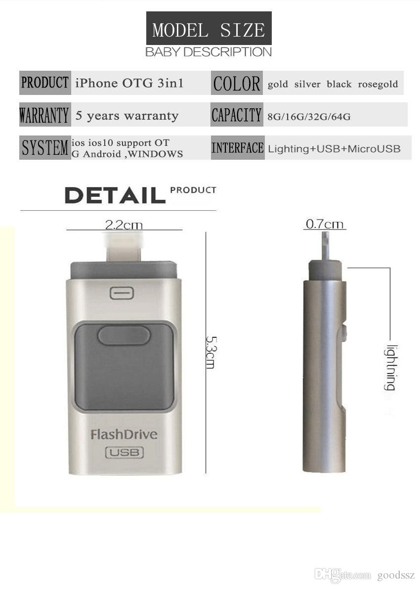 Eu-USB Storer 3 Em 1 OTG USB 2.0 I-Flash Drive Real 8 GB 16 GB 32 GB 64 GB Eu Flash Drive para Android IOS do Windows