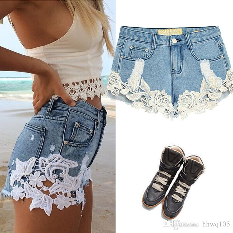 2017 Summer Lace Denim Shorts Women Light Blue Ripped Boyfriend ...