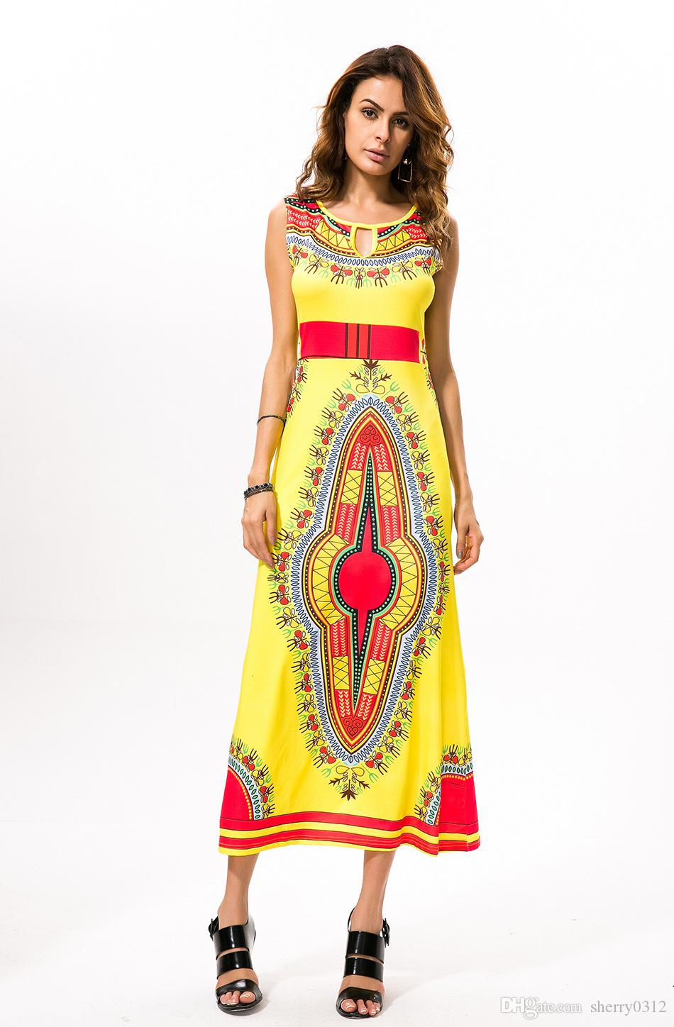 2017 New Bohemian Dress African Women Ethnic Traditional Clothes Print Dashiki Dress For Lady Vintage Thailand Indian Summer Dress Yellow