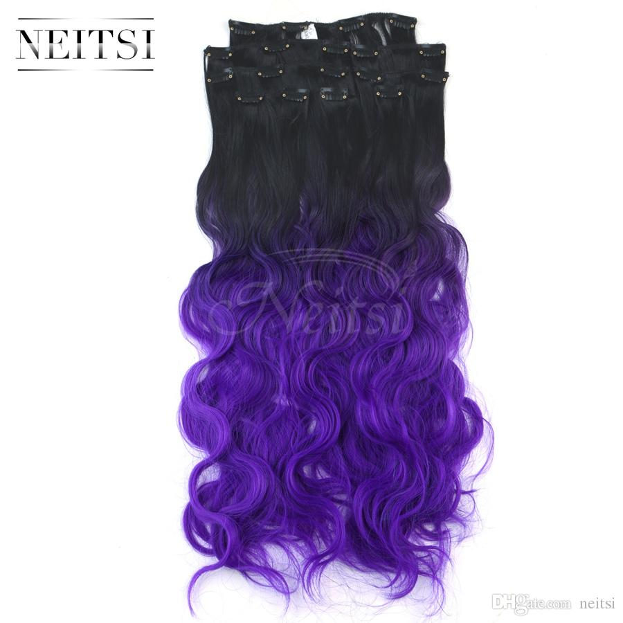 Neitsi clip in on hair extensions long curly body wave ombre weave see larger image pmusecretfo Image collections