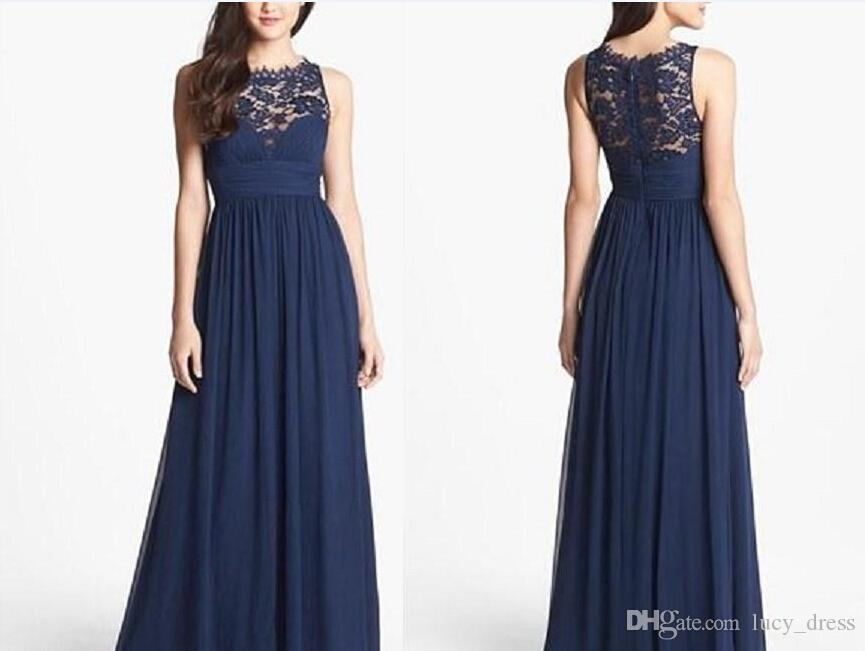 Beige Chiffon Bridesmaid Dress 2017: 2017 Navy Blue Bridesmaid Dresses Chiffon Long Floor