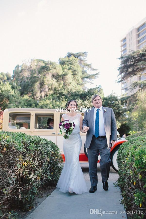Jenny Packham Elegant Sheath Wedding Dresses 2019 Open Back Beading Pearls Jewel Neck Garden Boho Beach Wedding Bridal Gowns Floor Length