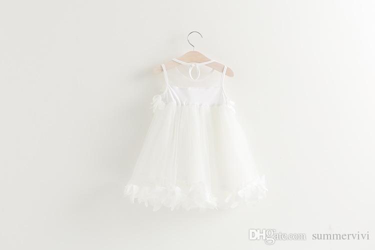 Girls princess dress summer new children lace gauze petals tulle tutu dress kids vest party dress pink white girls clothes A8677
