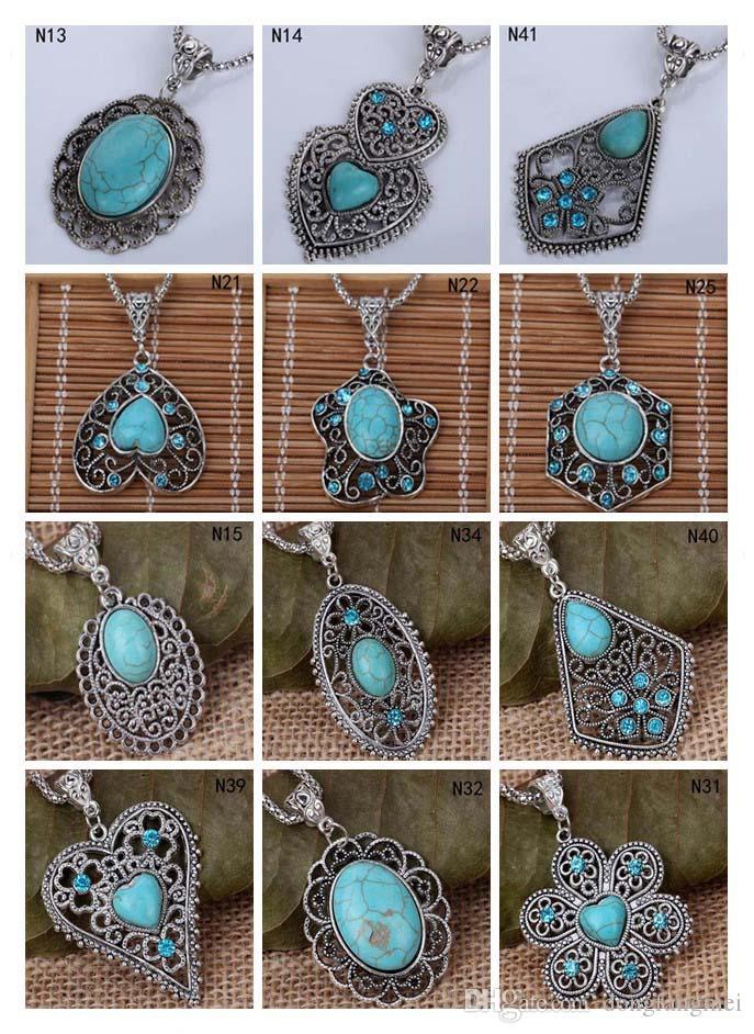Collana pendente perline europee DAY da donna DFMTQN2, collana tibetana in argento cavo in argento con catena 12 pezzi molto misto stile