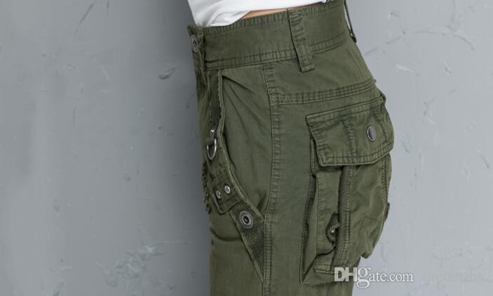 Cargohose aus Baumwolle Mischung für Frauen plus Größe Baumwollmischung hohe Taille Tasche Herbst Frühling Armee grün in voller Länge beiläufige Hose ttd0601