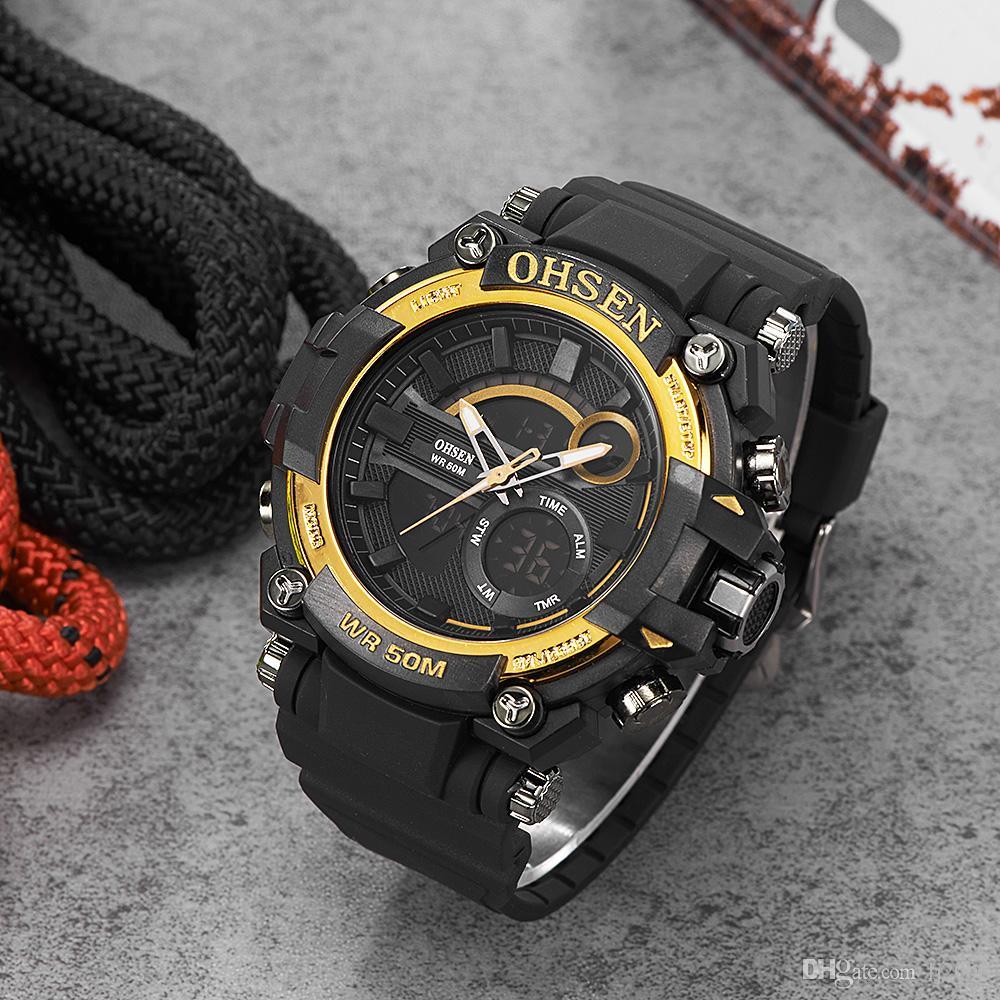 2017 Fashion Original OHSEN Quarzo Digital Watch Men 50m Swim Sport Watch Rubber Band Data Day Display Allarme da polso Relógios