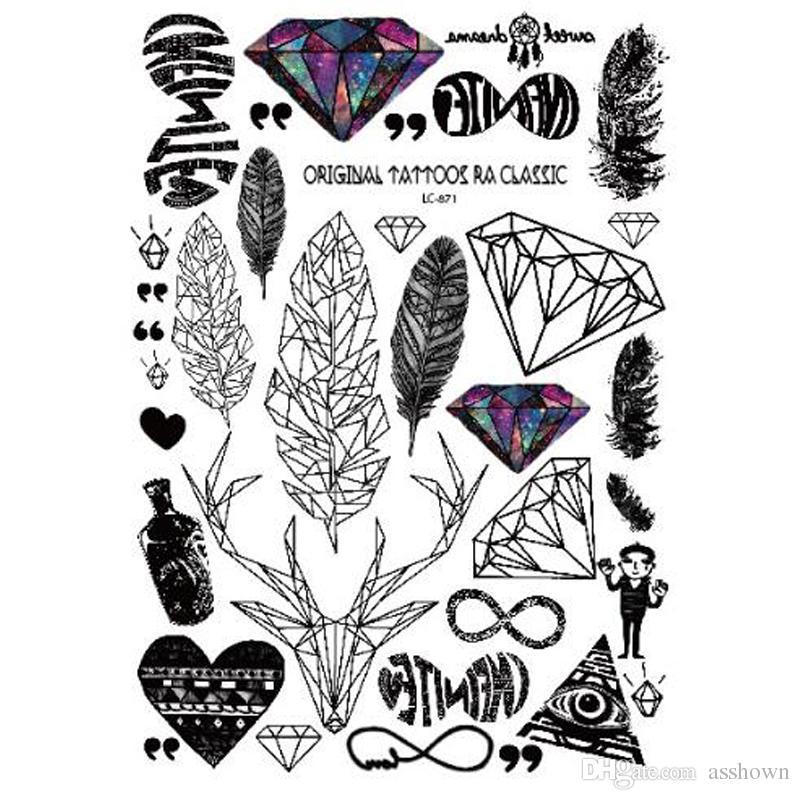 Hot sale Black tatuagem Taty Body Art Temporary Tattoo Stickers Feather Rainbow Diamond Glitter Tatoo Sticker