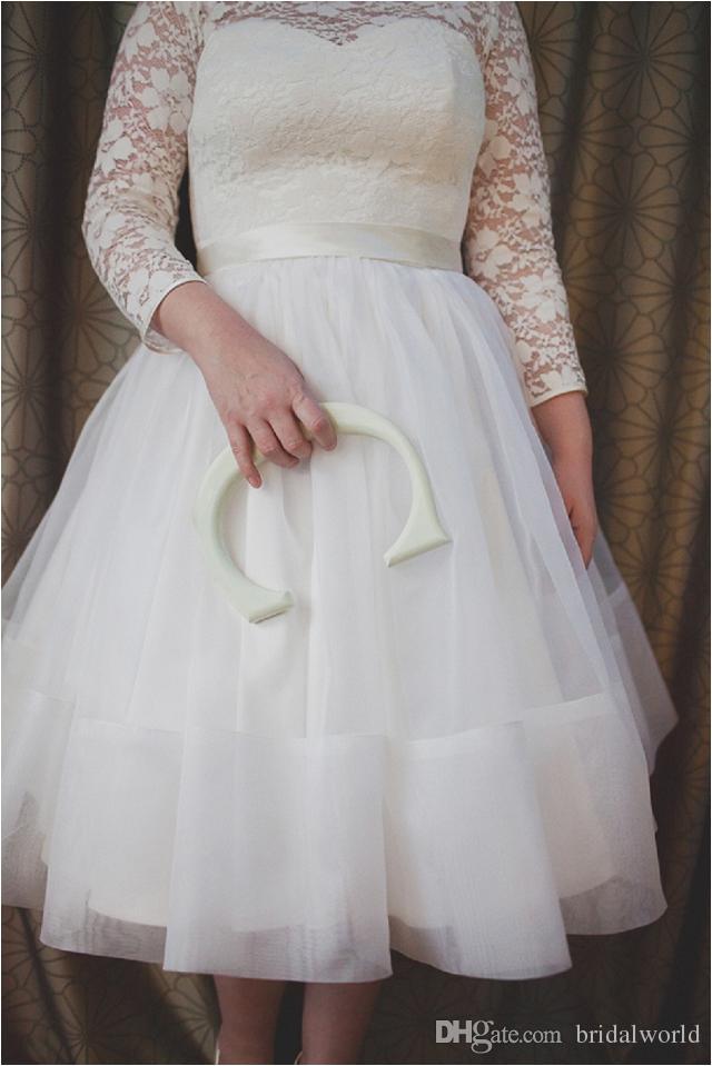 2016 Lace Beach Plus Size vestidos de casamento 3/4 de manga longa A linha de vestidos de casamento fita Bow Backless vestidos de noiva pageant Custom Made